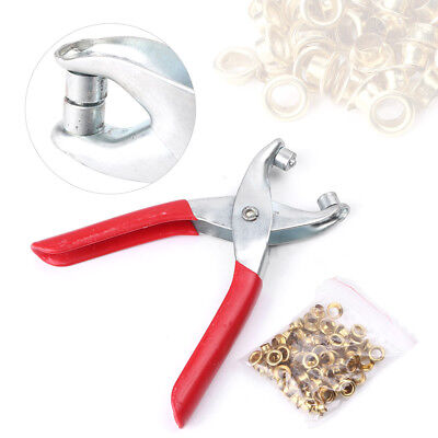 1x Grommet Pliers Eyelets+100x Eyelets Kit Tool For DIY Shoes Clothes Manual