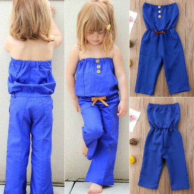 Toddler Kids Baby Girls Summer Strapless Romper Jumpsuit Pants Outfits Clothes