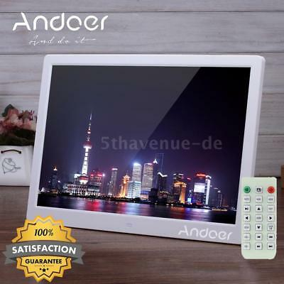 "15.6"" Zoll Digitaler Bilderrahmen Alarm MP4 Media Video Spieler + Fern Weiß L1C8"