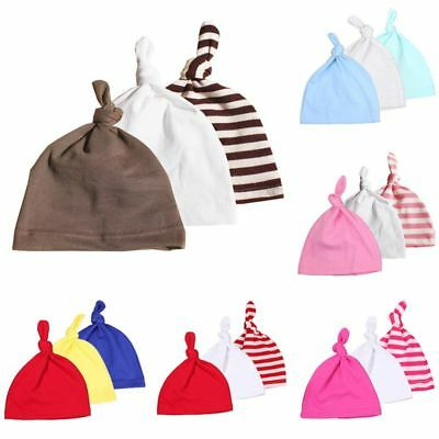 3pcs Newborn Baby Infant Boy Girls Hat Child Knotted Hat Knitted Toddler Hat Set