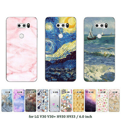 Soft TPU Silicone Case For LG V30 V30+ Protective Phone Back Cover Skins Marble