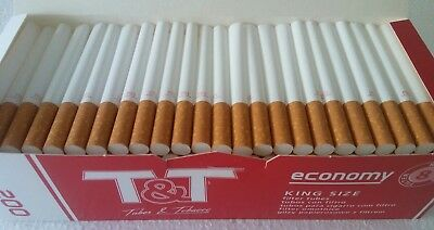 200 pc T&T Full Flavour Empty Tobacco Cigarette Filter Tubes King Size 200x