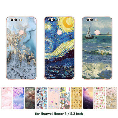"5.2"" Soft TPU Silicone Case For Huawei Honor 8 Phone Back Cover Skins Marble"