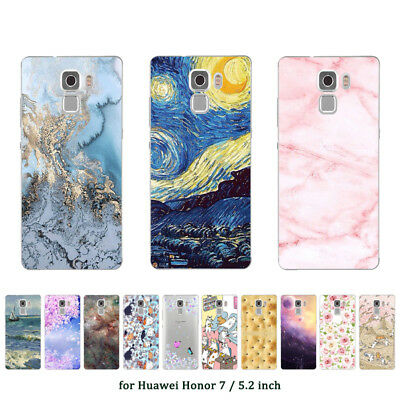 "5.2"" Soft TPU Silicone Case For Huawei Honor 7 Phone Back Cover Skin Marble"