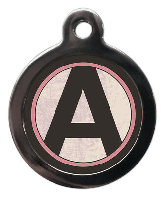Pet ID tag Initial A-Z Pink background