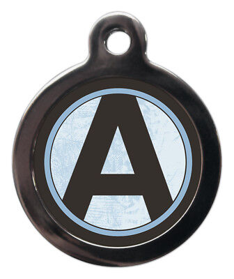 Pet ID tag Initial A-Z Blue Background