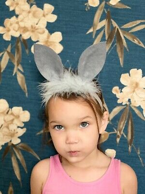 Baby Girl Headbands Bunny Ears Grey With Fur Newborn Toddler Hair bows Easter