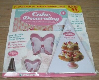Cake Decorating magazine #1 + 2 Butterfly Cutters, 3 Piping Bags & Star Nozzle