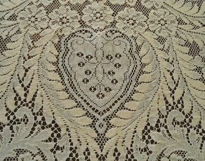 """Vintage Embroidered Lace Tablecloth 2 Tone Flower Petals Scrolls 75"""""""