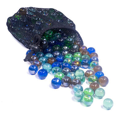 Bag Of 50 Glass Marbles - Sv11144 Colourful Traditional Large And Small Marbles