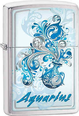 Zippo Classic Aquarius Brushed Chrome Windproof Lighter Z515