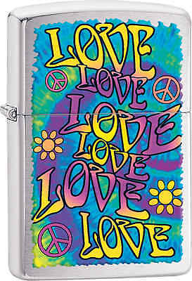 Zippo Classic Love Love Love Brushed Chrome Windproof Lighter Z424