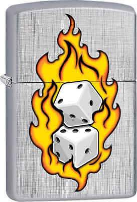 Zippo Classic Dice Line Weave Brushed Chrome Windproof Lighter Z206