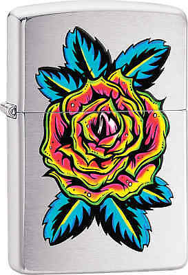 Zippo Classic Flower Tattoo Brushed Chrome Windproof Lighter 29399