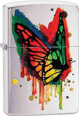 Zippo Classic Butterfly Color Drip Brushed Chrome Windproof Lighter 29392