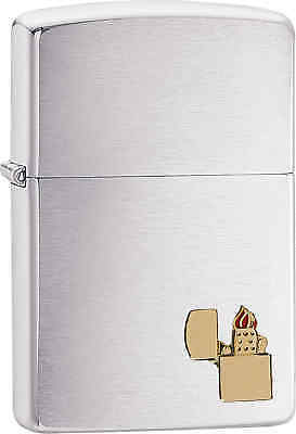 Zippo Classic Brass Emblem Brushed Chrome Windproof Lighter 29102