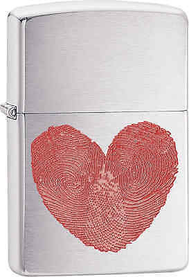 Zippo Classic Heart Thumbprints Brushed Chrome Windproof Lighter 29068