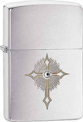 Zippo Classic Swarovski Cross Brushed Chrome Windproof Lighter 28804