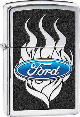Zippo Classic Ford Flames High Polish Chrome Windproof Lighter 29297