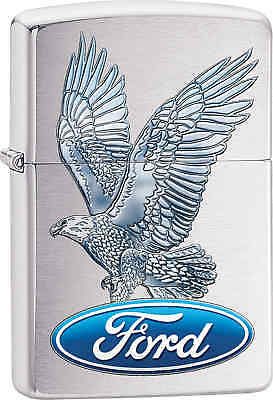 Zippo Classic Ford Eagle Brushed Chrome Windproof Lighter 29296