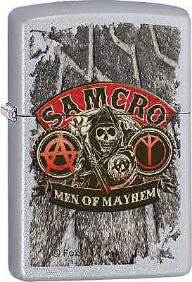 Zippo Classic SAMCRO Men of Mayhem Satin Chrome Windproof Lighter Z372