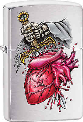 Zippo Classic Dagger Heart Brushed Chrome Windproof Lighter 29406
