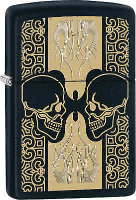 Zippo Classic Skulls Face off Black Matte Windproof Lighter 29404