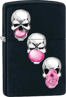Zippo Classic Skulls With Bubble Gum  Black Matte Windproof Lighter 29398