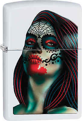 Zippo Classic Day of The Dead Woman White Matte Windproof Lighter 29400