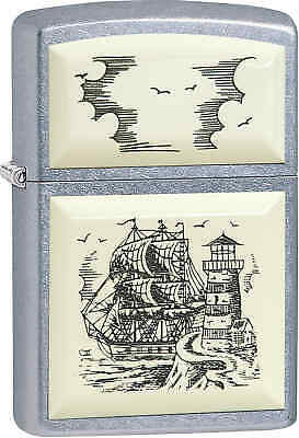 Zippo Classic Scrimshaw Ship Street Chrome Windproof Lighter 29397