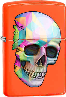 Zippo Classic Skull Neon Orange Windproof Lighter 29402