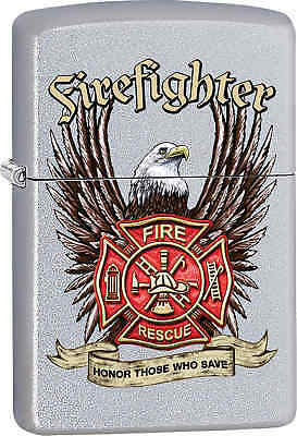 Zippo Classic Fire Fighter Satin Chrome Windproof Lighter Z551