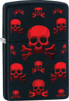 Zippo Classic Red Skulls Black Matte Windproof Lighter Z290
