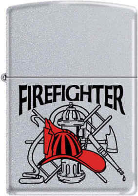 Zippo Classic Fire Fighter Satin Chrome Windproof Lighter Z278