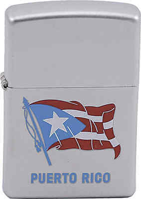 Zippo Classic Puerto Rico Flag Satin Chrome Windproof Lighter Z197