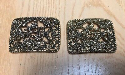 "Pair VINTAGE Large Filigree BRASS SHOE CLIPS 1 1/2""X2"""