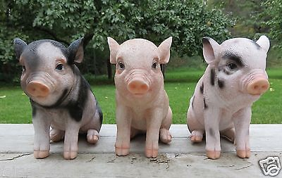6 Pig Figurines Spotted  3 standing 3 Sitting animal farm piglets resin  new