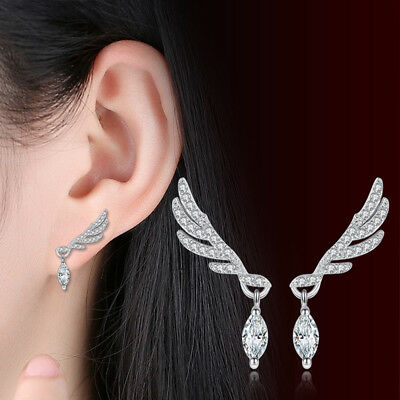 925 Sterling Silver Women AAAA Oval Crystal Zircon Angel's Wing Stud Earrings