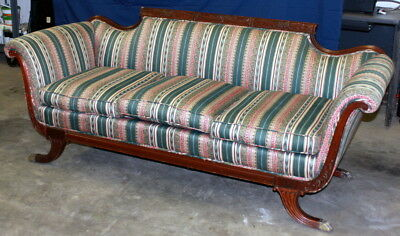 VINTAGE DUNCAN PHYFE STYLE CARVED WOOD SOFA with 4 BRASS FEET***Price Reduced***