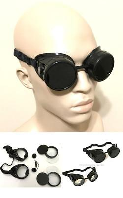 Welding Glasses Black Oxy-Acetylene Goggles Steampunk 50mm Eye Cup Shade #5 Lens