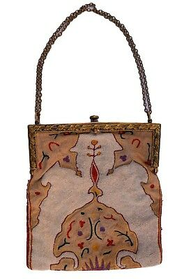 Beautiful French Antique Hand Embroided Steel Bead Hand Bag Purse 1930's