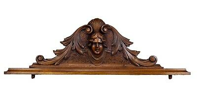 French Antique Renaissance Hand Carved Wood Pediment 19th Woman Head