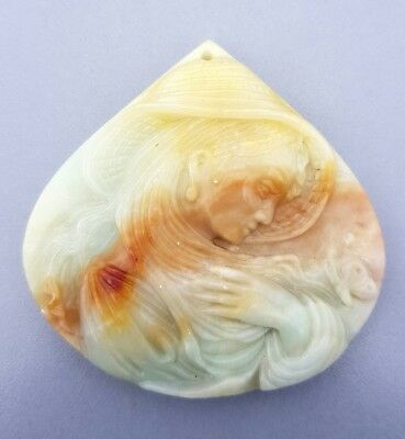 WaterfallGems Amazonite Woman & Butterfly Carving (drilled), 57x58mm, 215.50ct