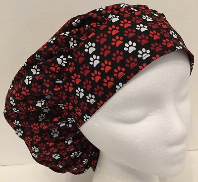 Red Paw Prints Size Large Medical Bouffant OR Scrub Cap Surgery Hat