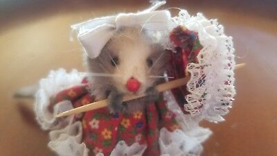 Vintage Original Fur Toys Mouse Girl With Red Floral  Dress And Lace Parasol