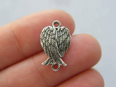 SC6378 8 Angel Wing Connector Charms Antique Silver Tone