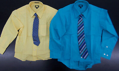 Boys Yellow or Turquoise Dress Shirts w/ Clip-On Ties Size 6/7 - 10/12