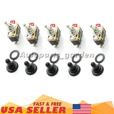 5 X SPST 2Pin Heavy Duty 15A 250V ON/OFF Rocker Toggle Switch Waterproof Boot US