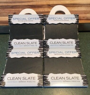 Set Of 4 Genuine Slate Wine Drink Coasters Clean Slate Stone *Free Shipping*