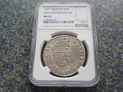 Saxe Weimar 2/3 Silver Thaler 1677 BU coin NGC MS65 TOP POP German States Saxony